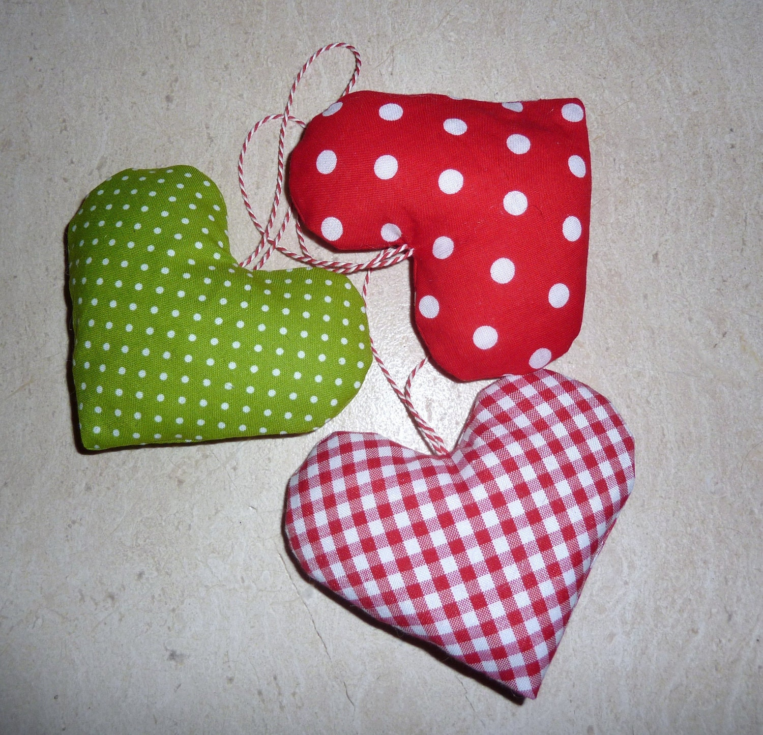 Fabric Christmas Ornaments Hearts Tree Decorations By