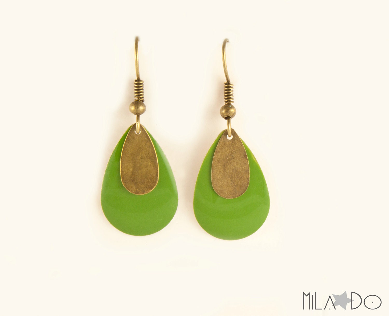 Boucles d'oreilles Gouttes email et bronze vert olive