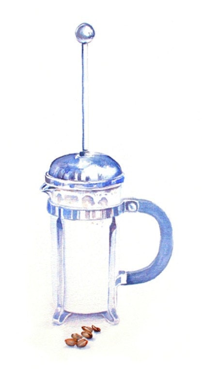 Art Print of Original Watercolor Painting--French Press--Food Kitchen Decor - workingwoman