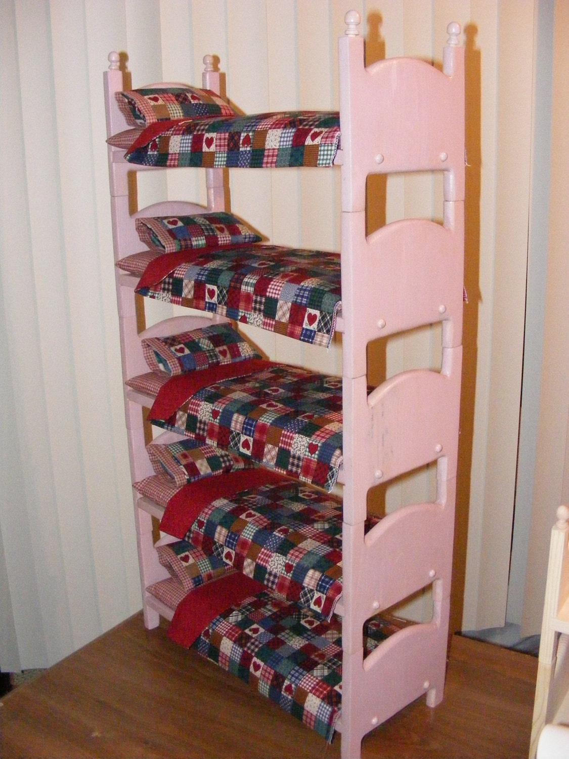 Stackable Quintuple Heart Doll Bunk Bed Bedding Set. American Girl Doll  Furniture - The Crafters - Doll Bunk Beds For 18 Inch Dolls Show Home Design