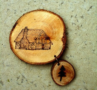 Wooden log cabin brooch