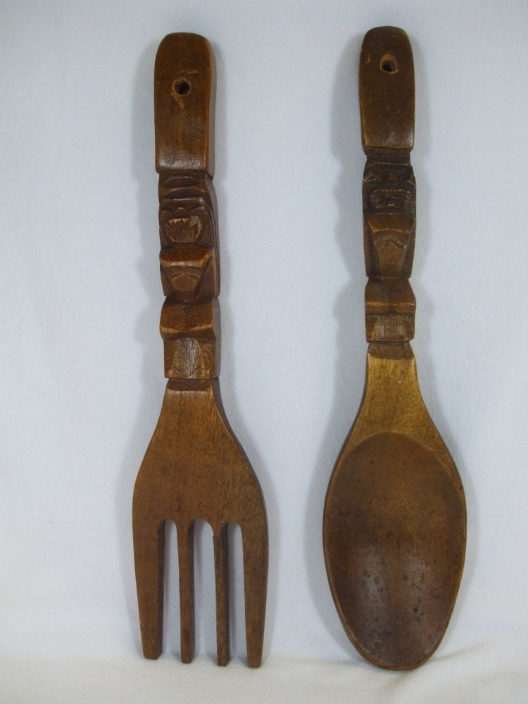 Wall Decor Wooden Fork And Spoon : Vintage wood fork and spoon wall decor by trappedintheattic