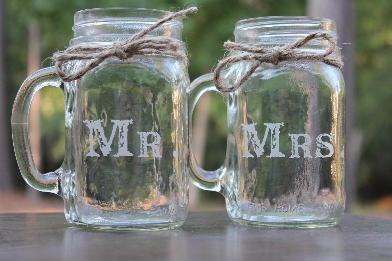 Mason Jars Mugs Wedding Personalized by EngravingByT on Etsy