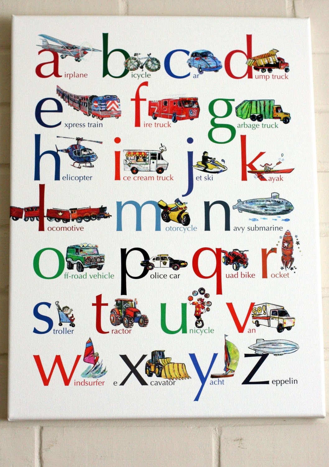 Vehicles ABC alphabet canvas 15x20