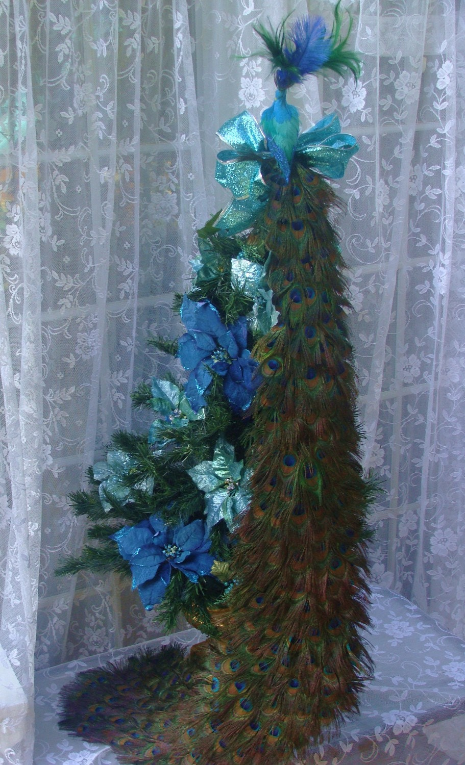 48 Peacock Christmas Tree Topper By Ivyndell On Etsy