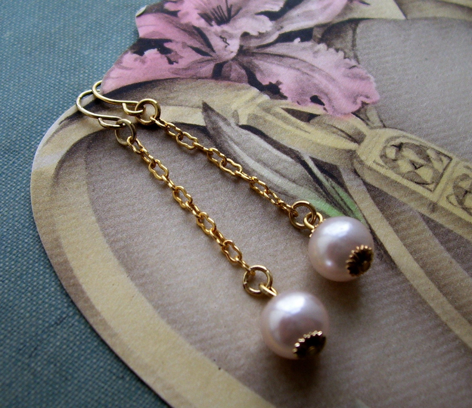 Carmen Satin Pink Pearl Drop Dangle Earrings - Eco Chic - Bridal Wedding