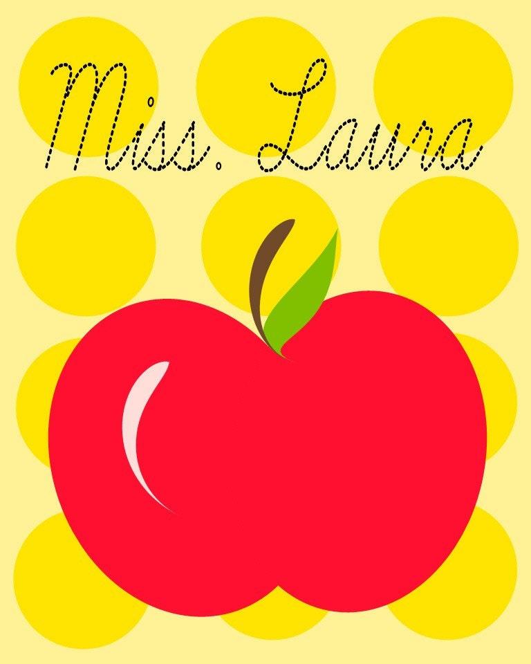 Yellow Polkadot Red Apple Teacher Print