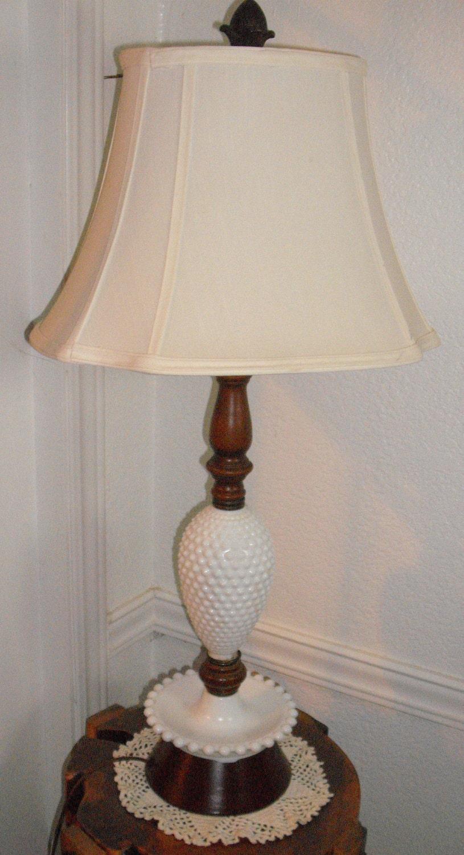 Hobnail Milk Glass Table Lamp   Fenton style by lasosantiques