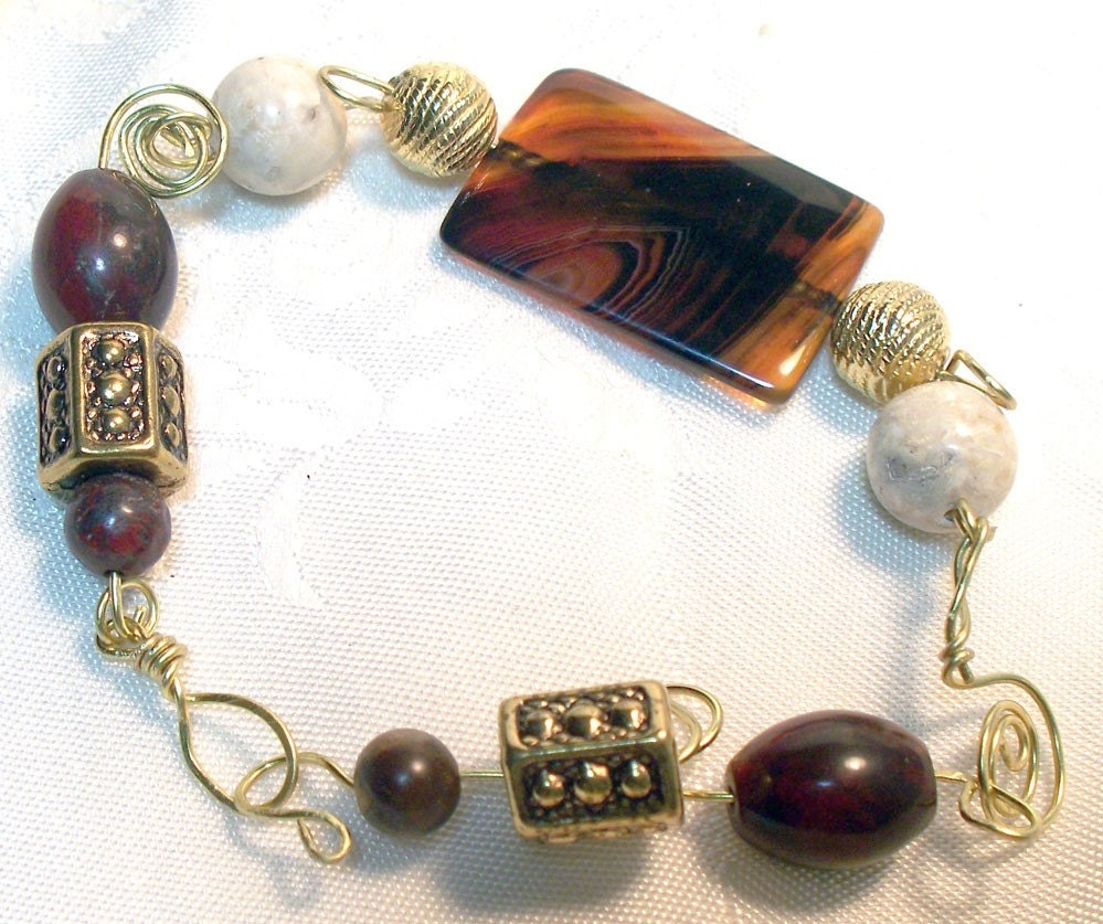 Chocolate Brown and Vanilla White Jasper Wire Wrapped Bracelet