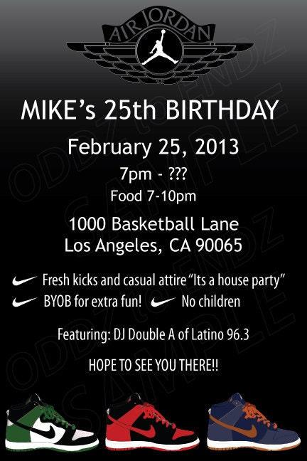 Items Similar To Air Jordan Basketball Birthday Invitation