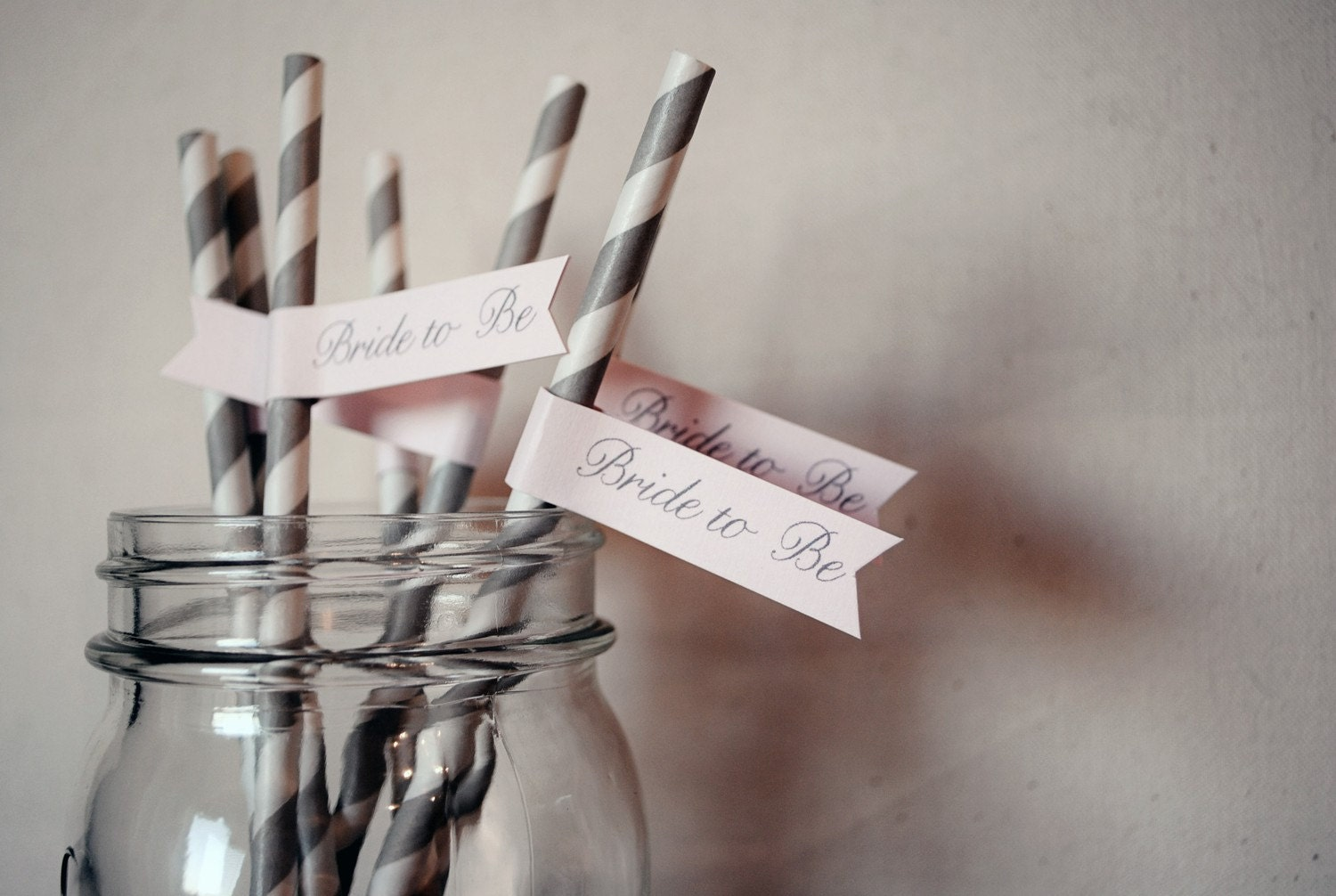 Bride to Be Paper Drink Straw Flags- Set of 12