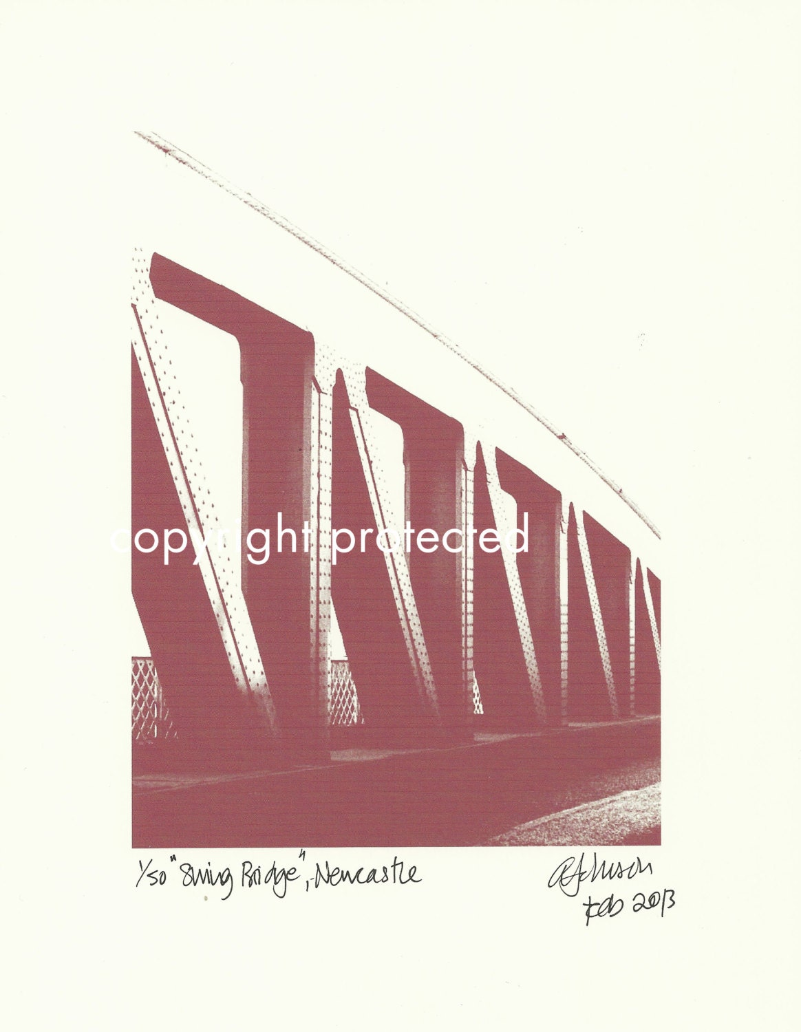 Limited Edition Print: SWING BRIDGE, Newcastle Upon Tyne / Gateshead, England, UK