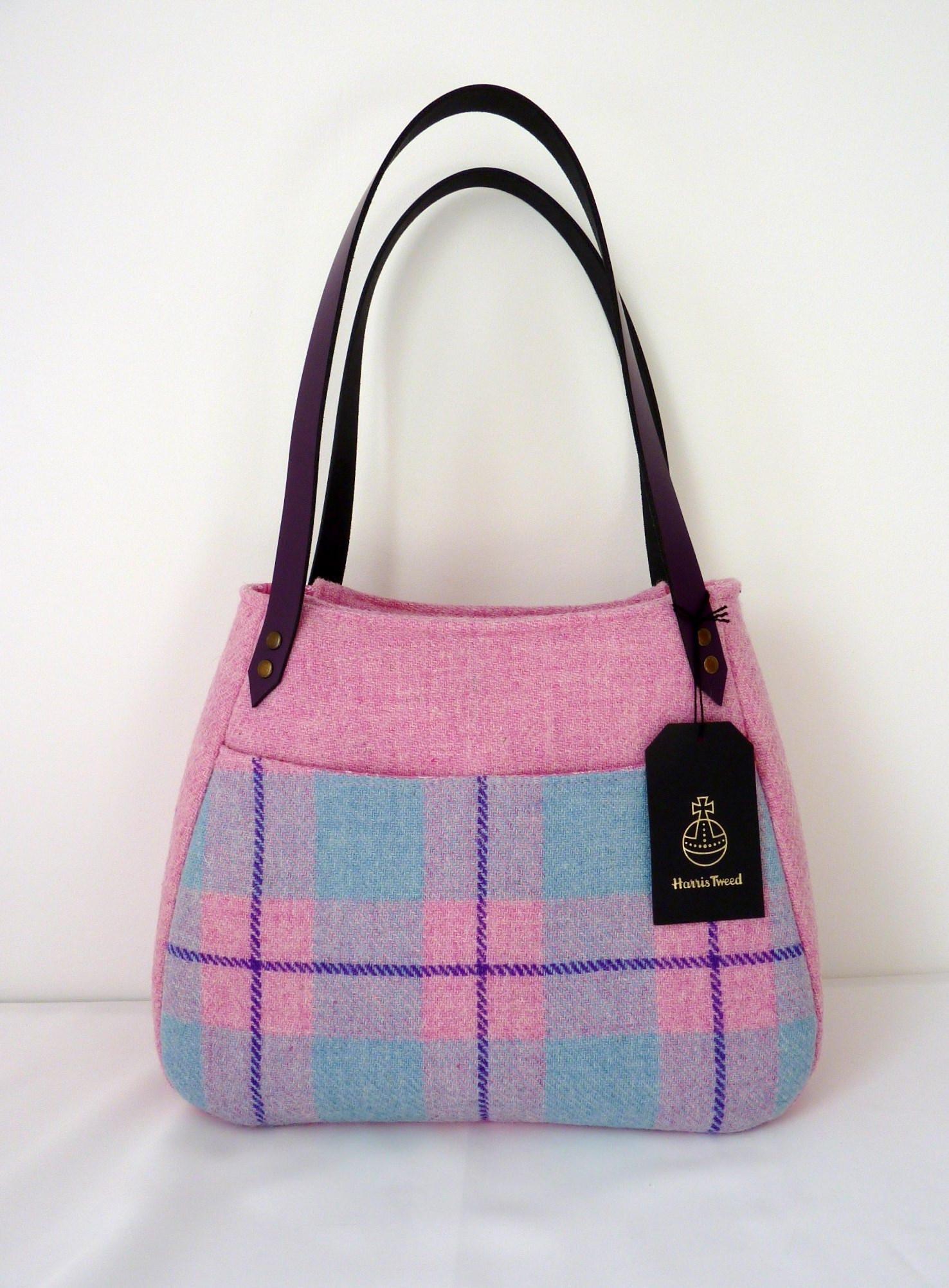 Pink Harris Tweed Handbag Harris Tweed Purse with Leather Handles Harris Tweed Bag