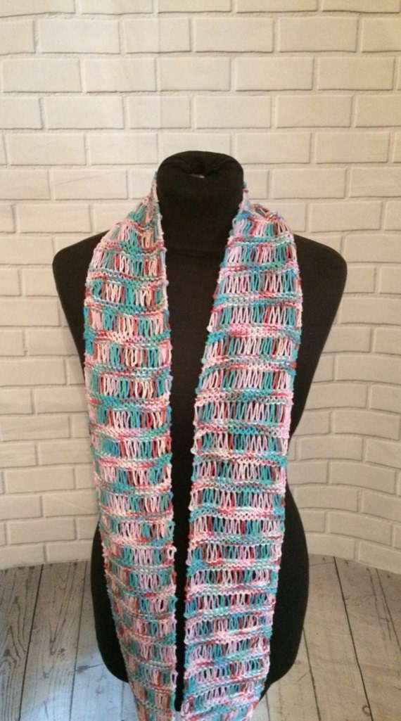 Cotton infinity scarf Loomed scarf long cotton scarf Gift for her Spring scarf Lightweight scarf Lace scarf multicoloured scarf