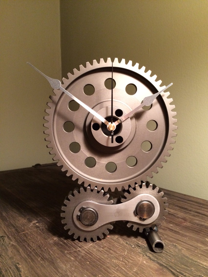 "Hand crafted hot rod desk or mantle clock using repurposed engine/car parts. This is the ""Gear Drive"" clock."