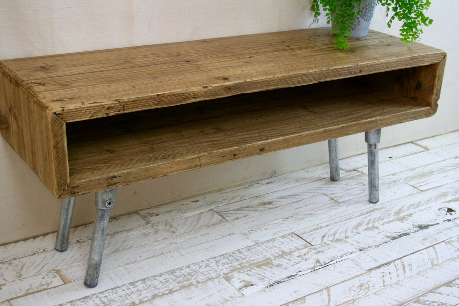 Reclaimed Wood Industrial TV Stand Scaffold Board  Unit