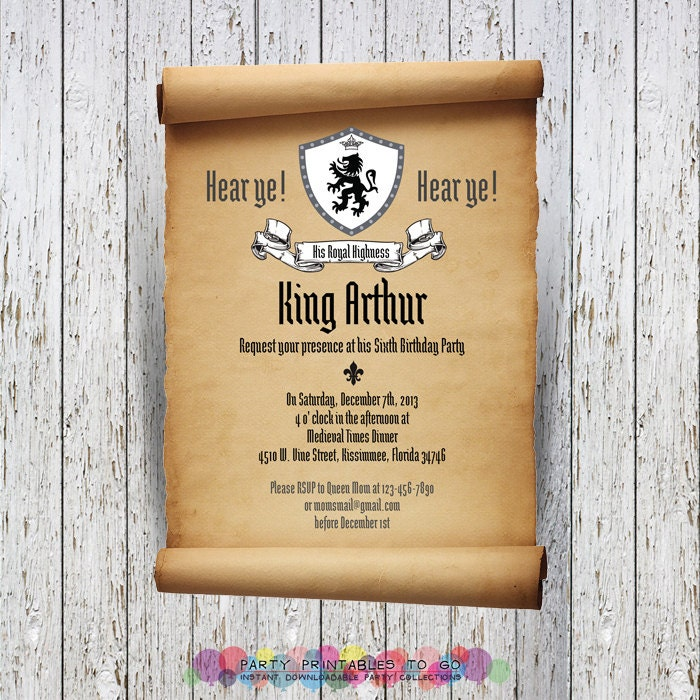 knights printable scroll birthday by