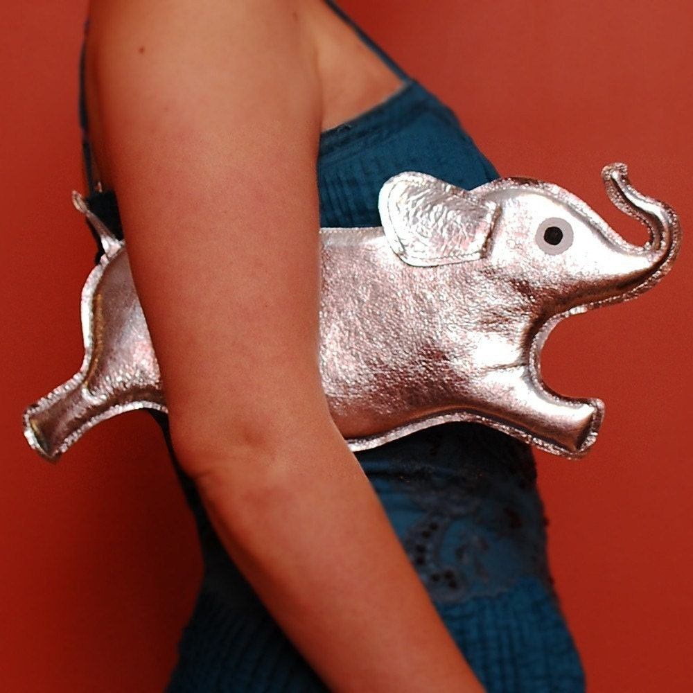 Orwell Clutch - Silver Elephant Purse - Made to Order