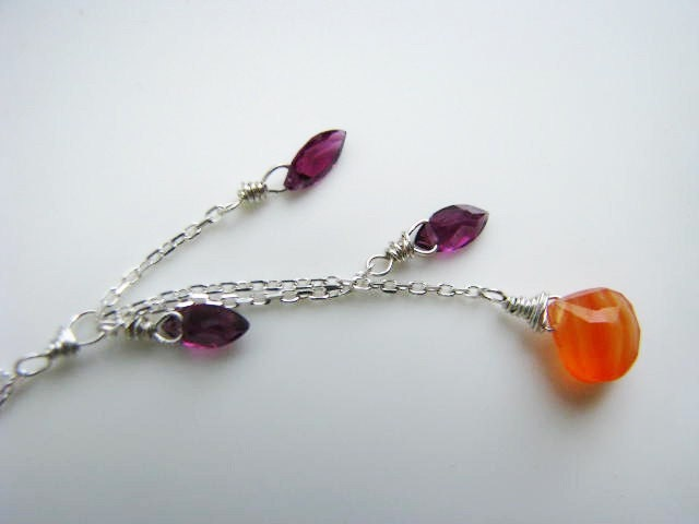 Fig and Apricot - Carnelian and Garnet sterling silver necklace