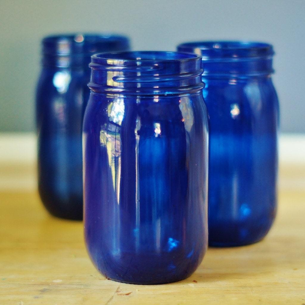 Set Of Three Cobalt Blue Mason Jar Vases Hand Painted By