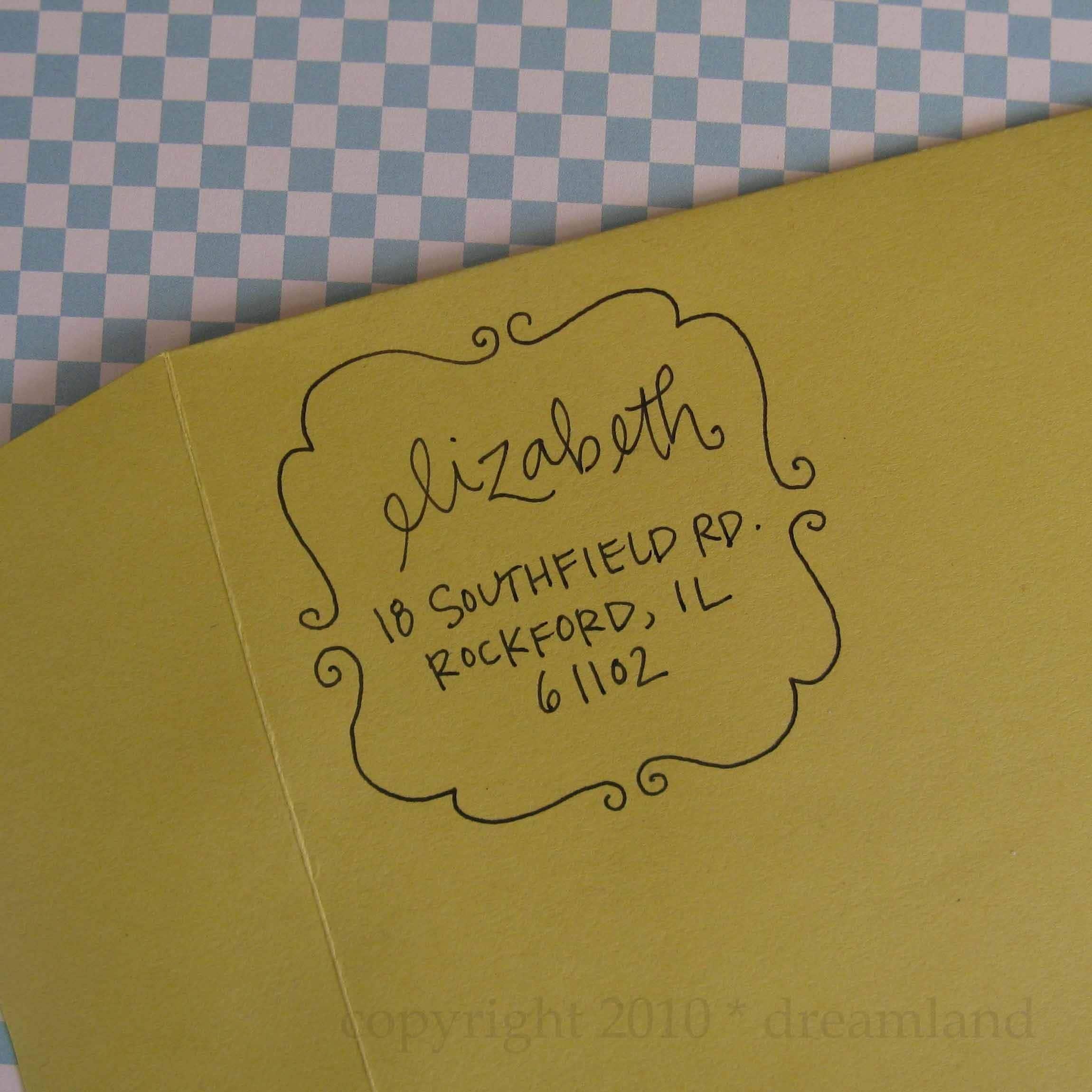 Elizabeth Address Stamp (Wood Handle)