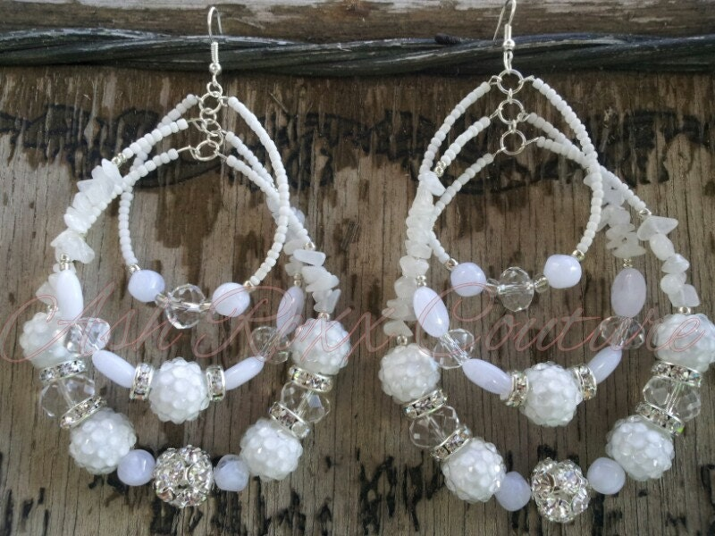 Basketball Wives LA Beaded Chandelier Triple Strand White Earrings WINTER WONDERLAND