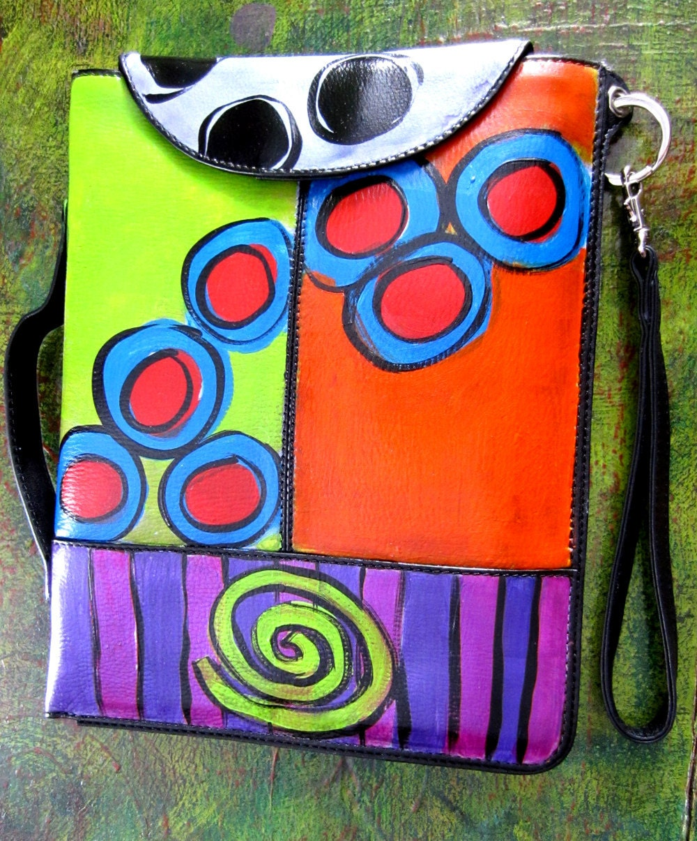 Hand Painted Leather I-Pad case with Handles