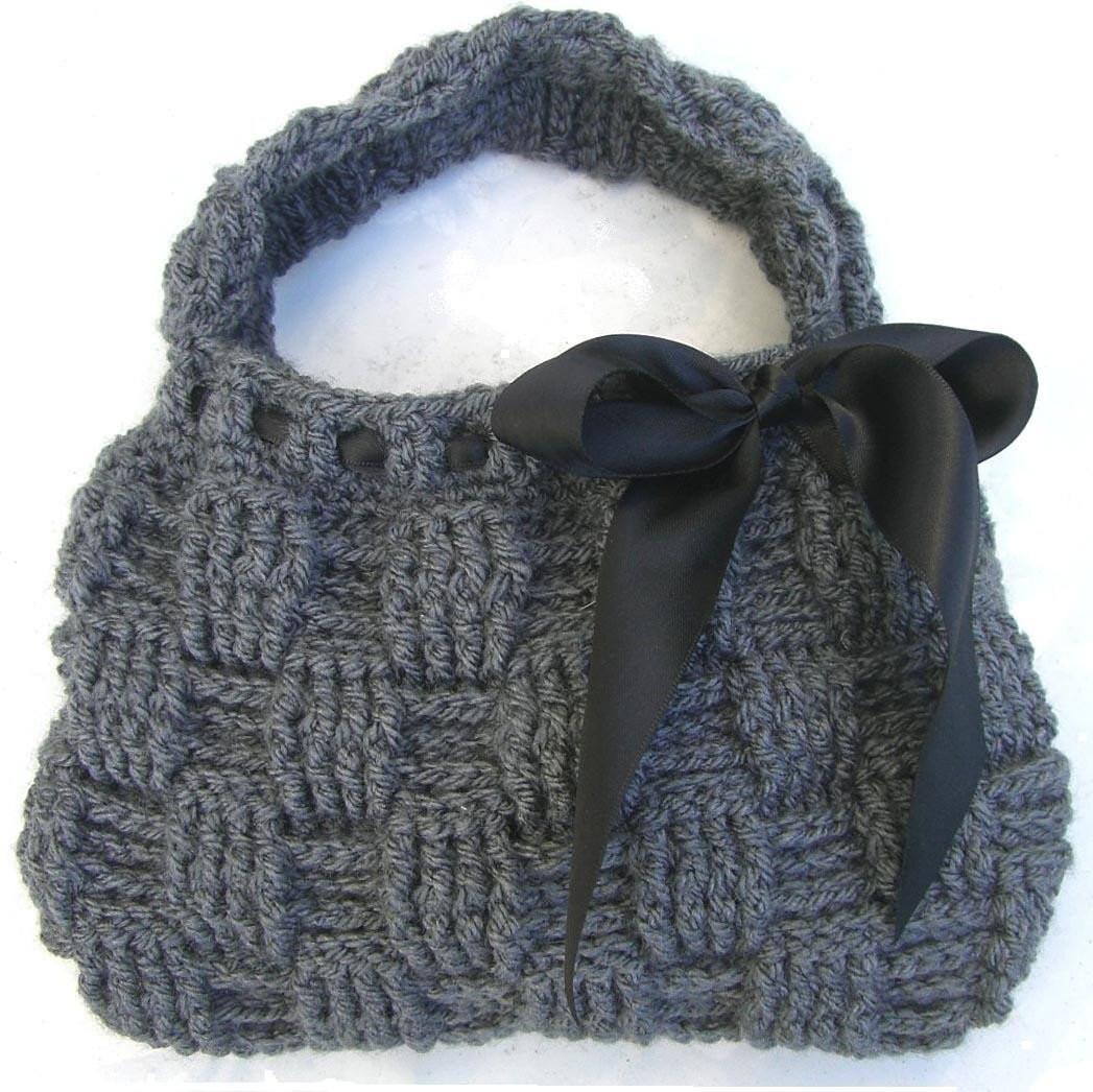 Crochet Pattern for HANDBAG Bag Clutch Waffle Stitch Purse