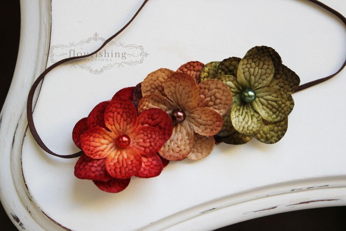 Shades of Autumn- Hydrangea flower headband, fall headbands, newborn headbands, brown headbands, orange headbands, brown headbands - FlourishingCreations