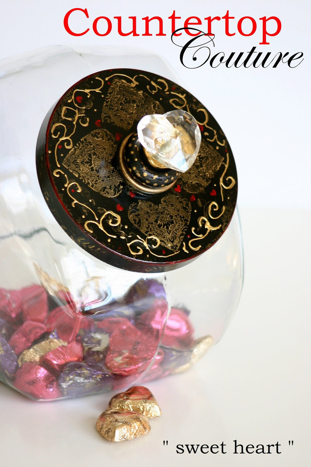 Hand Painted Black & Gold with a touch of Red  Candy Jar... 1 of a kind Valentine's Day Gift