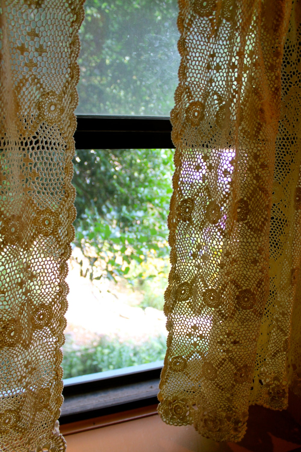 Crocheted Lace 2 Panel Cream Colored Curtains By Boxcararts
