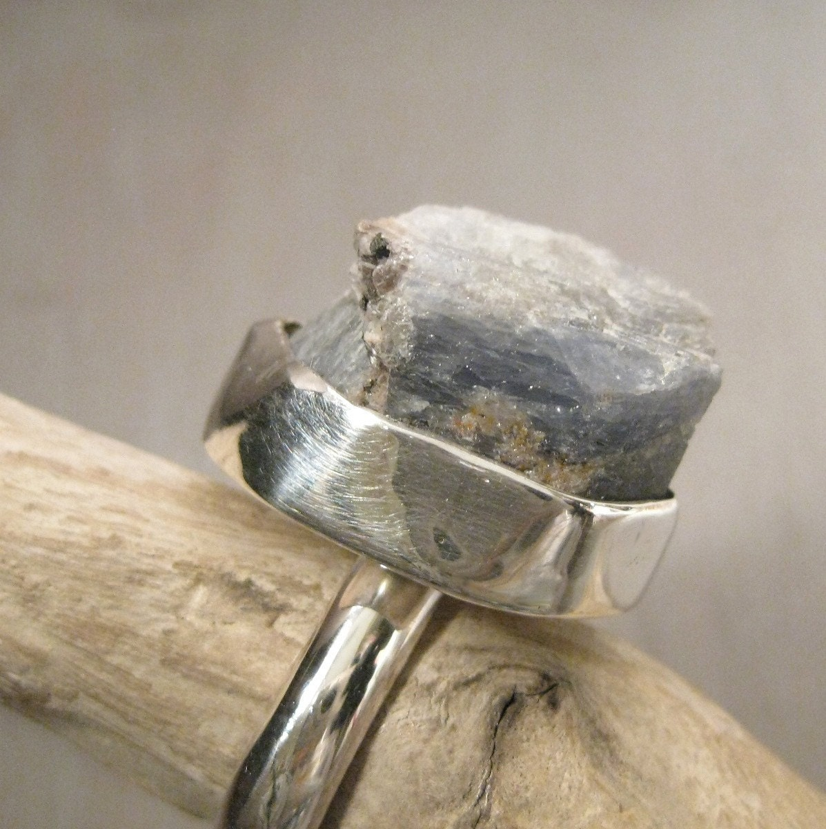 Shades of blue ring - Raw Sapphire and sterling silver