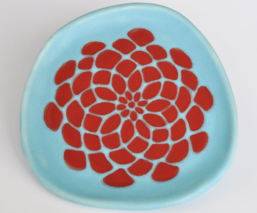 small ceramic plate - dahlia flower in red and robins egg blue matte - modern pottery kitchen decor - hopejohnson