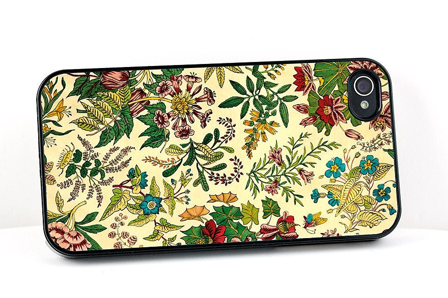 Artistic iPhone 4 Case, Victorian Flower Garden Design, iPhone 4S