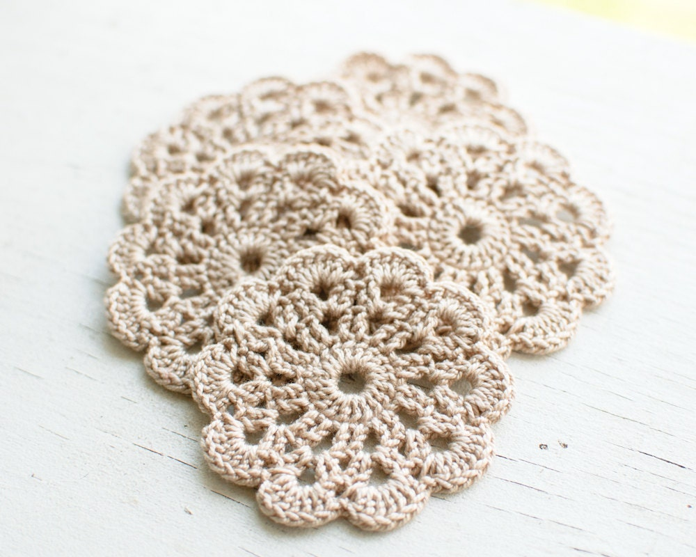 crochet flower applique Beige Neutral Wedding Decoration Embellishment set of 10 - SvetlanaN