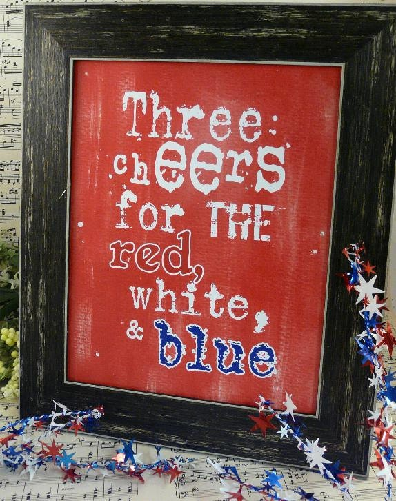 3 cheers for Red White Blue sign American digital  - 4th of july uprint art words vintage style primitive paper old pdf 8 x 10 frame saying