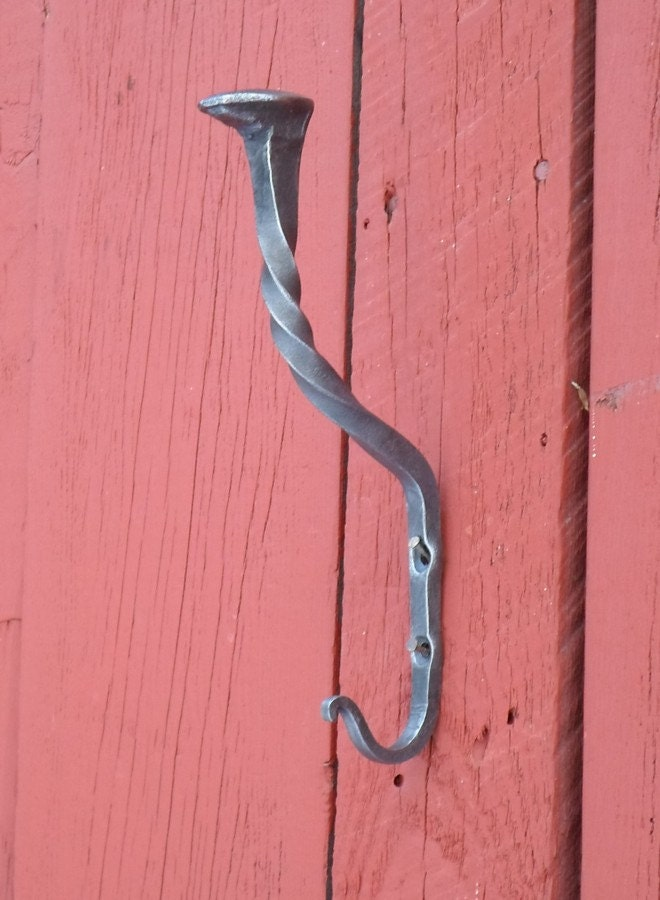 Hand Forged Hook For Coat And Hat Blacksmith Made By