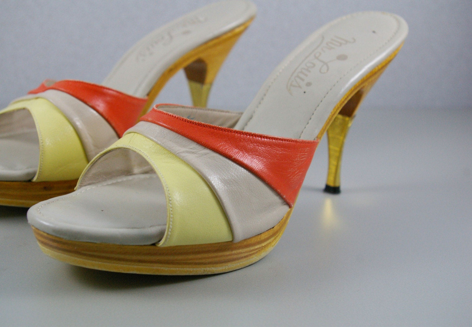 Sz 9 Vintage SHERBET Platform Sandals by MariesVintage on Etsy