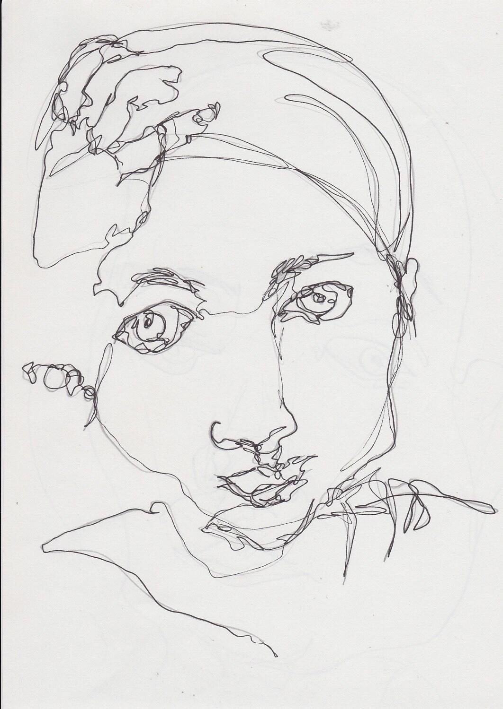 Line Art Ink : Original line ink drawing girl portrait modern by