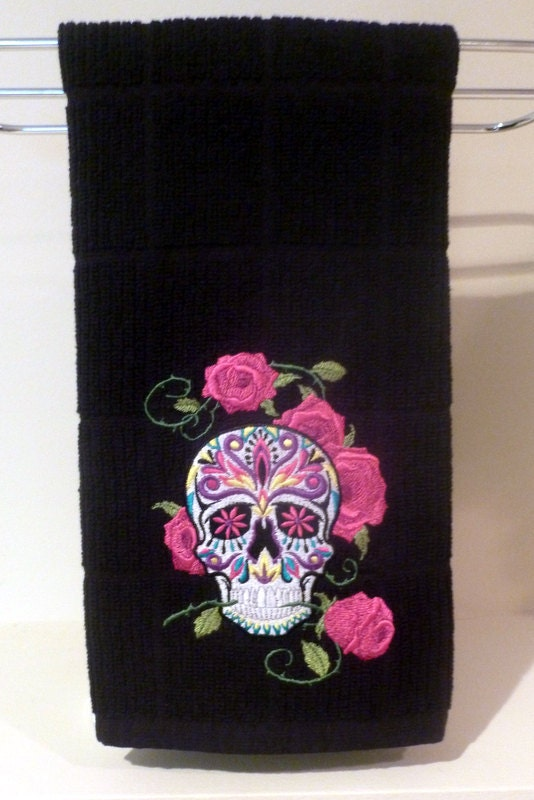 sugar skull towel custom kitchen bathroom dia by offthehookbylora. Black Bedroom Furniture Sets. Home Design Ideas