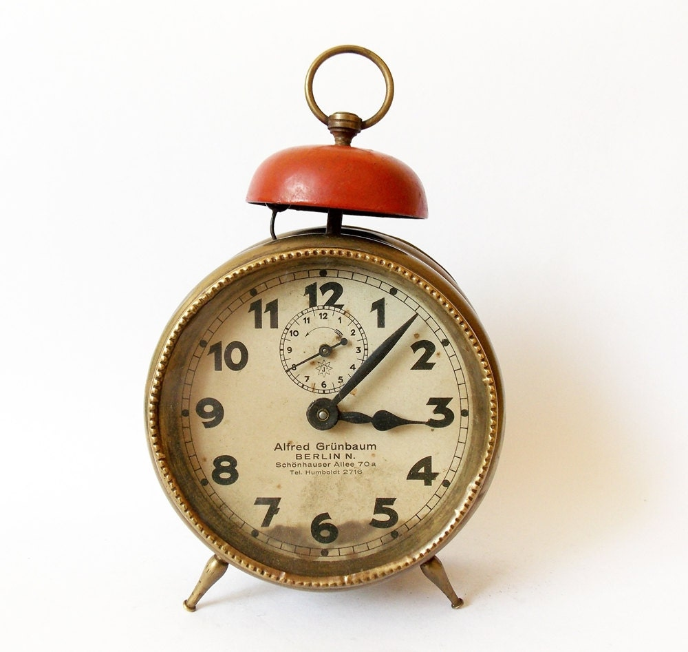Antique German Junghans Alarm Clock Made In By Halldervintage