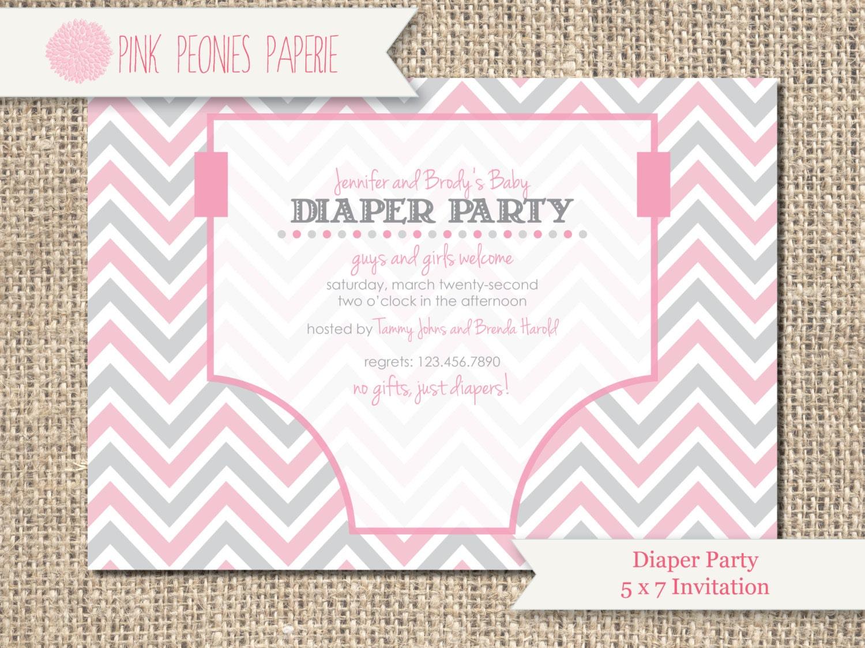 Baby Shower Invitation Diaper Party Gender Neutral Boy Girl