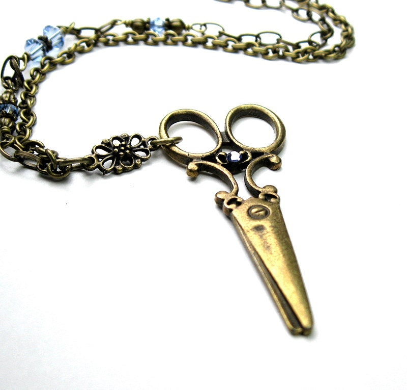 Vintage Style Scissor Necklace, Blue Swarovski