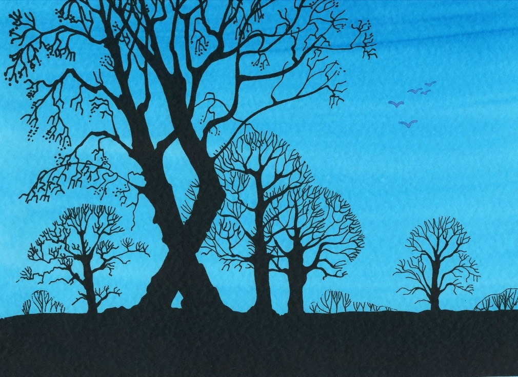 Tree Silhouette in a Blue Sky with Birds. - FlorenceFantasyArt