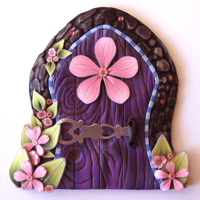 Pink and purple fairy door pixie portal by claybykim on etsy for Purple fairy door