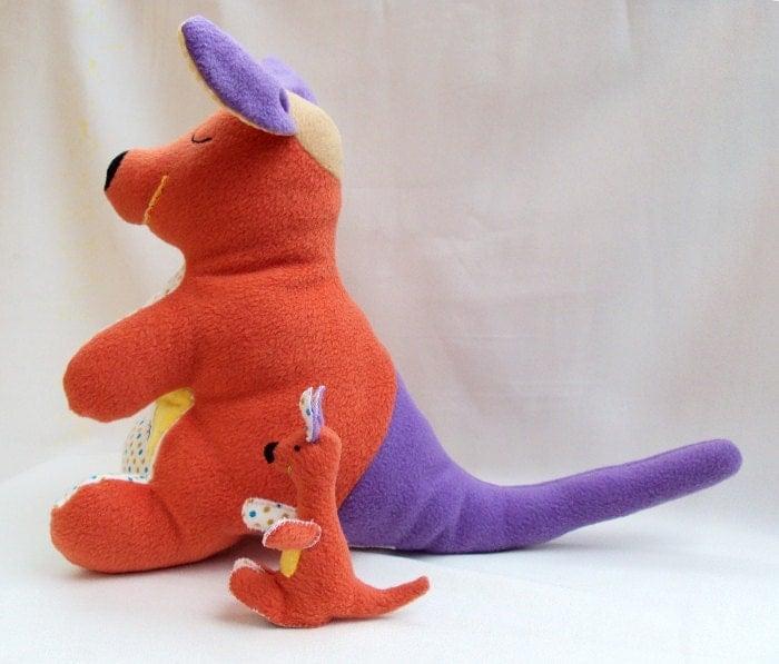 Mom kangaroo doll plush and finger puppet baby kangaroo plush doll