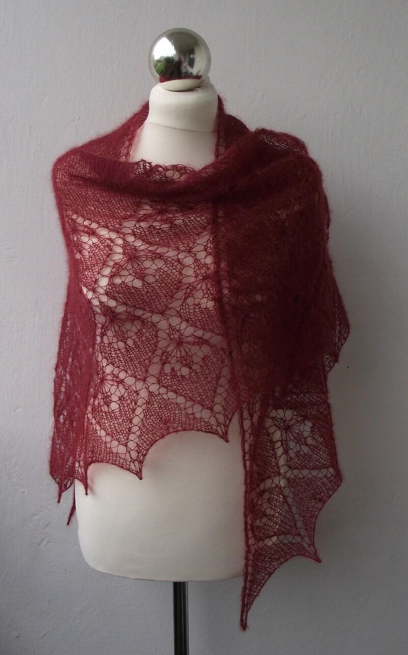 Merlot Haze hand knitted lace triangle shawl