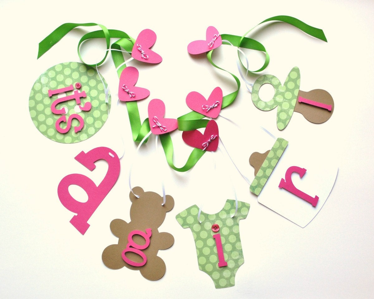 hot pink and green baby shower decorations it 39 s a by parkersprints