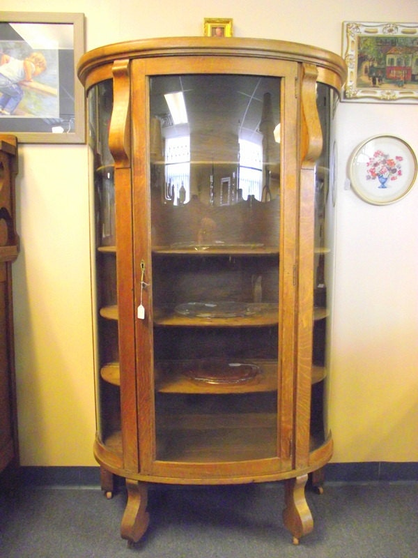 Antique Curved Glass Bow Front Oak China Hutch Curio  Shelf