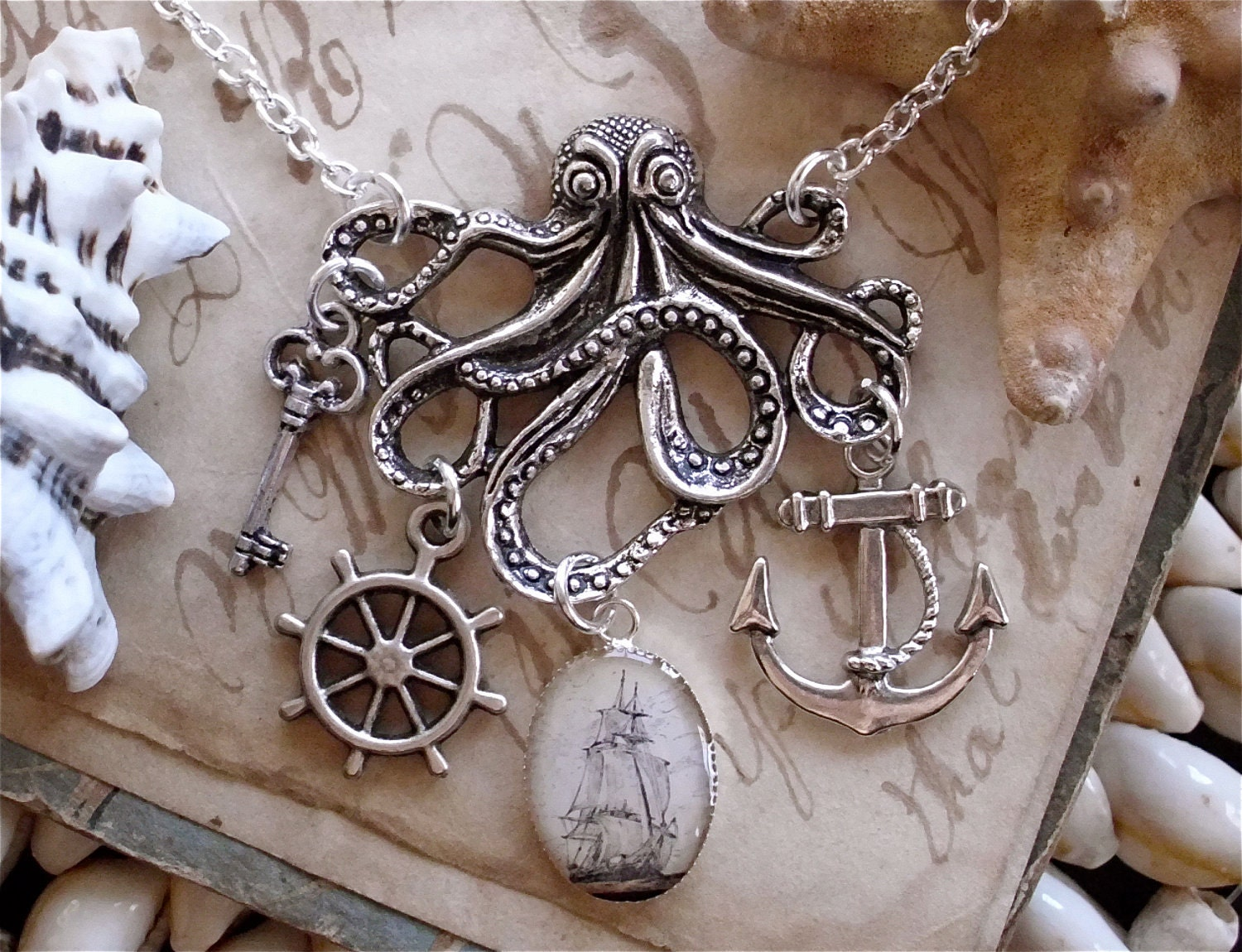 The Kraken in Silver - Pirate Ship - Octopus Necklace - Anchor - Captains Wheel - Treasure Key - Antique Nautical Print Charm Necklace - TheLysineContingency